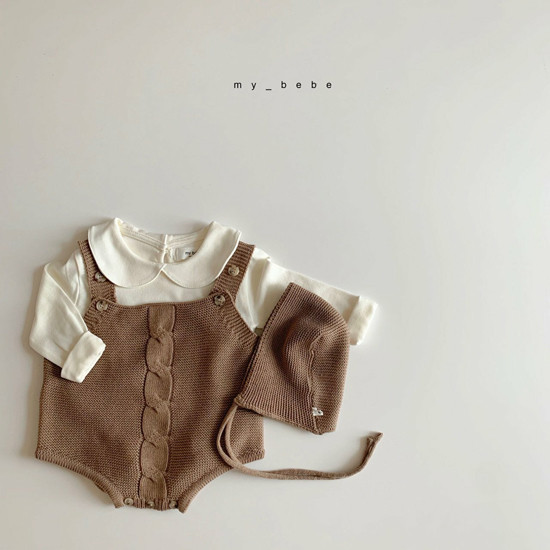MY BEBE - Korean Children Fashion - #Kfashion4kids - Twist Knit Bodysuit with Hat - 9