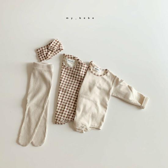 MY BEBE - Korean Children Fashion - #Kfashion4kids - Two Rompers Set with Hairband - 4