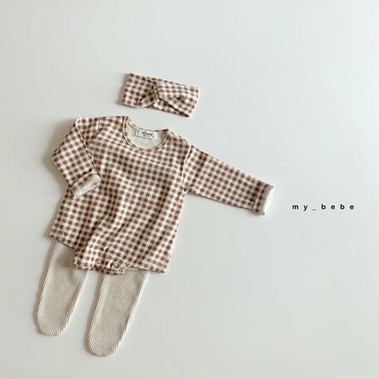 MY BEBE - Korean Children Fashion - #Kfashion4kids - Two Rompers Set with Hairband - 5
