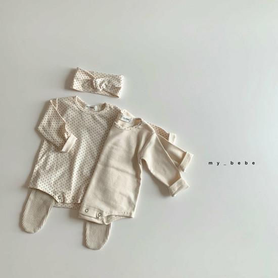 MY BEBE - Korean Children Fashion - #Kfashion4kids - Two Rompers Set with Hairband - 8