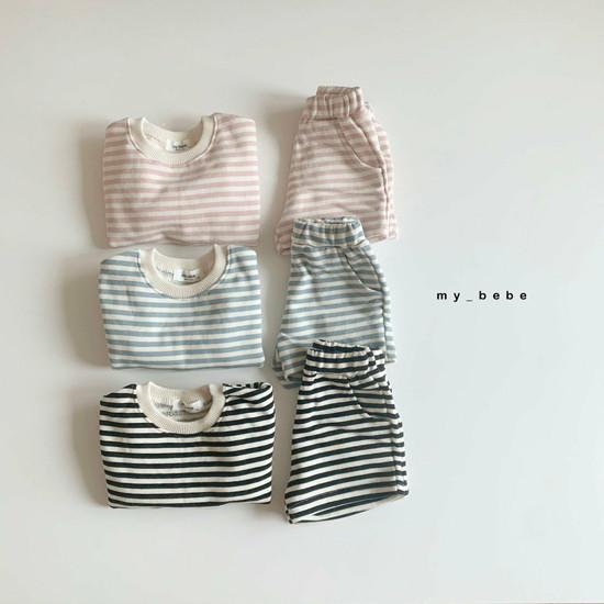 MY BEBE - Korean Children Fashion - #Kfashion4kids - Stripe Top Shorts Set