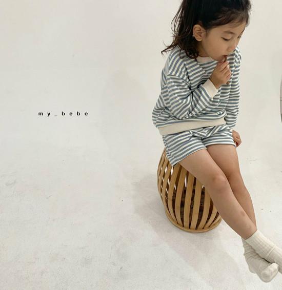 MY BEBE - Korean Children Fashion - #Kfashion4kids - Stripe Top Shorts Set - 10