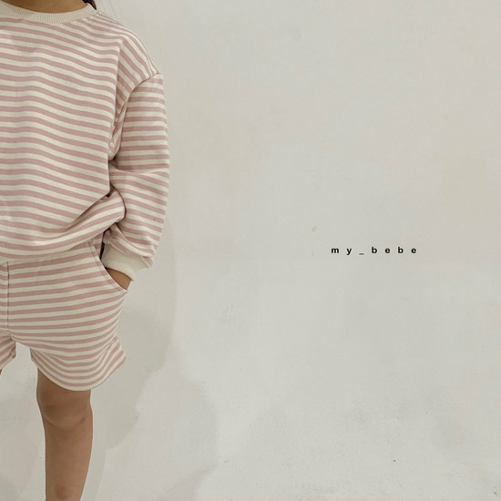 MY BEBE - Korean Children Fashion - #Kfashion4kids - Stripe Top Shorts Set - 11