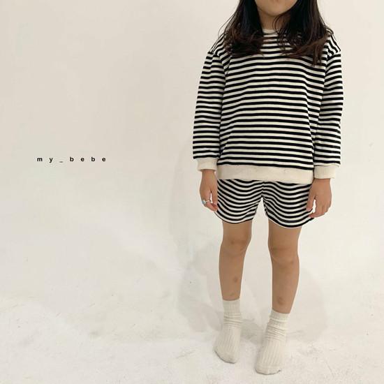 MY BEBE - Korean Children Fashion - #Kfashion4kids - Stripe Top Shorts Set - 12
