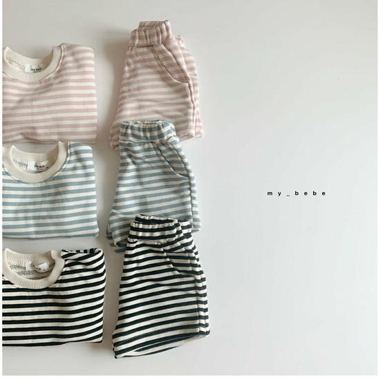 MY BEBE - Korean Children Fashion - #Kfashion4kids - Stripe Top Shorts Set - 2