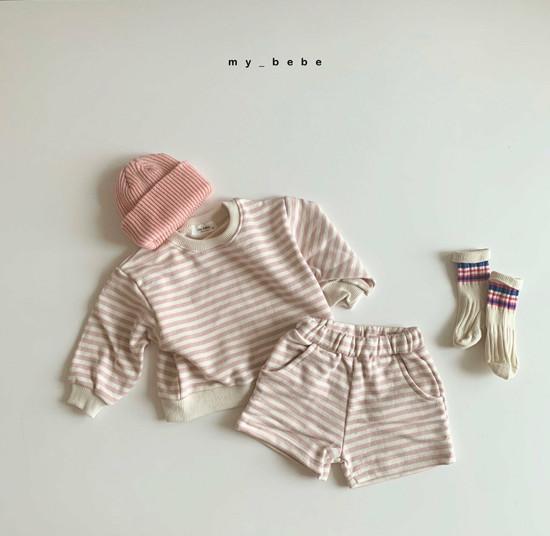 MY BEBE - Korean Children Fashion - #Kfashion4kids - Stripe Top Shorts Set - 3