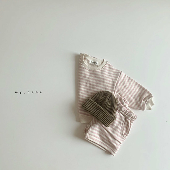 MY BEBE - Korean Children Fashion - #Kfashion4kids - Stripe Top Shorts Set - 4