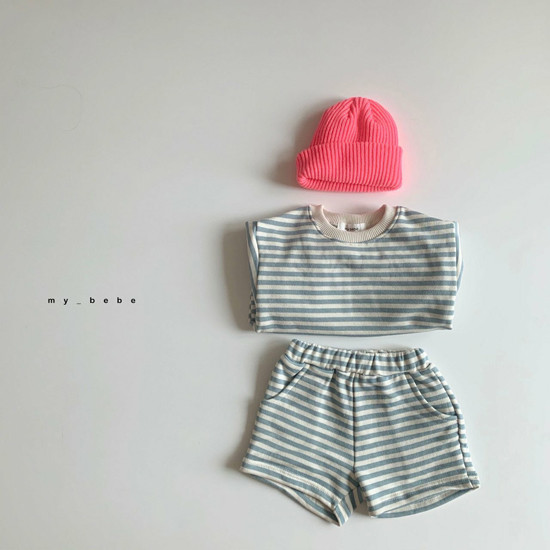 MY BEBE - Korean Children Fashion - #Kfashion4kids - Stripe Top Shorts Set - 5
