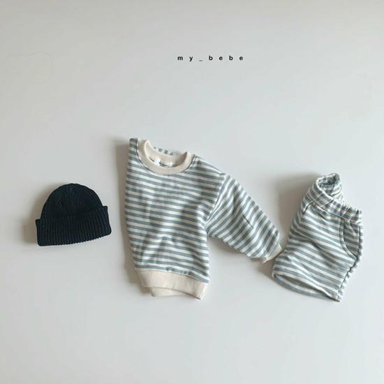 MY BEBE - Korean Children Fashion - #Kfashion4kids - Stripe Top Shorts Set - 6