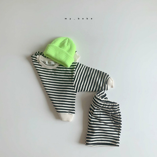 MY BEBE - Korean Children Fashion - #Kfashion4kids - Stripe Top Shorts Set - 7
