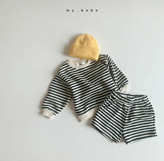 MY BEBE - Korean Children Fashion - #Kfashion4kids - Stripe Top Shorts Set - 8