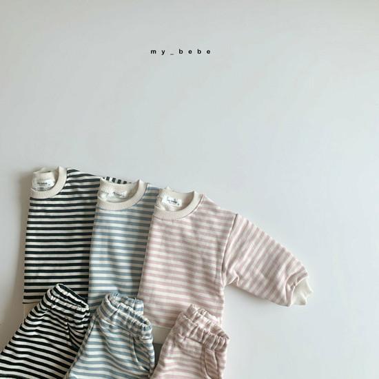 MY BEBE - Korean Children Fashion - #Kfashion4kids - Stripe Top Shorts Set - 9
