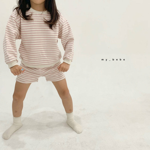 MY BEBE - BRAND - Korean Children Fashion - #Kfashion4kids - Stripe Top Shorts Set