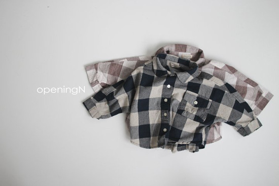 OPENING & - Korean Children Fashion - #Kfashion4kids - Olive Check Shirt