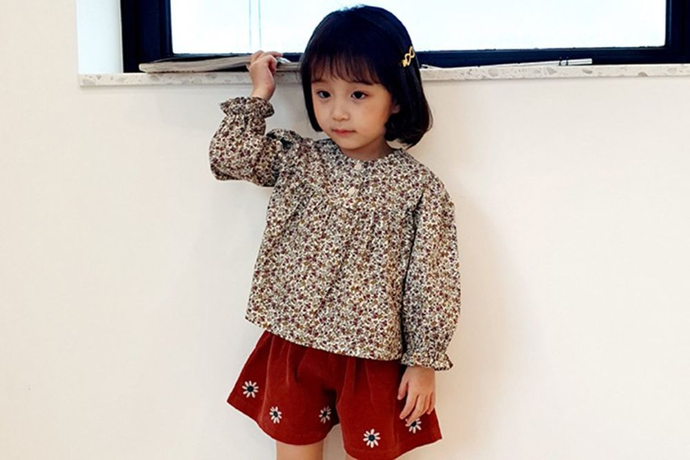 ORANGE MOM - BRAND - Korean Children Fashion - #Kfashion4kids - Flower Print Blouse