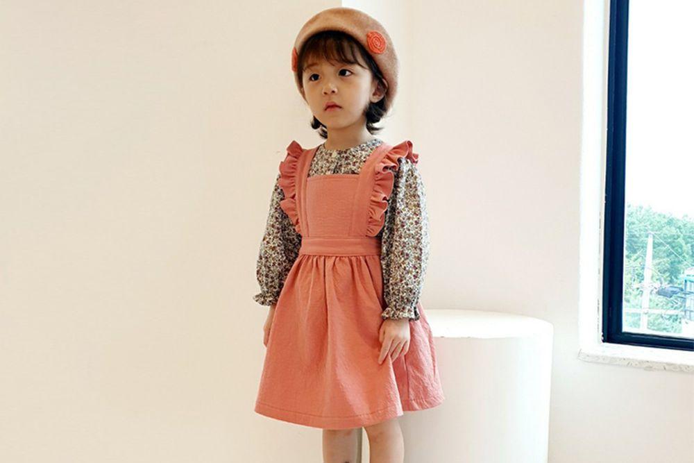 ORANGE MOM - BRAND - Korean Children Fashion - #Kfashion4kids - Cotton Frill Suspender One-piece