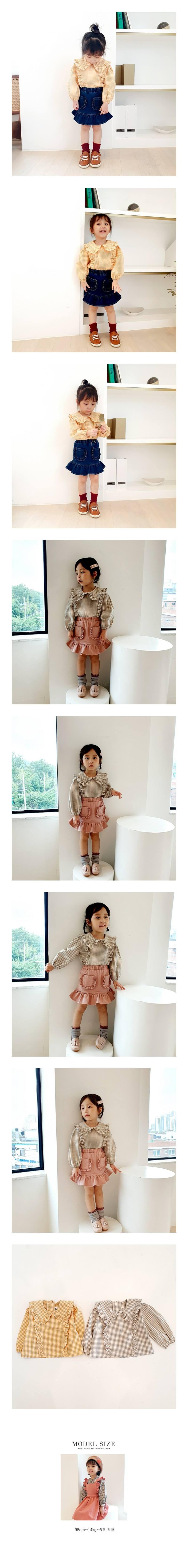 ORANGE MOM - Korean Children Fashion - #Kfashion4kids - Frill Check Blouse
