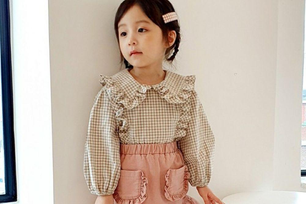 ORANGE MOM - BRAND - Korean Children Fashion - #Kfashion4kids - Frill Check Blouse