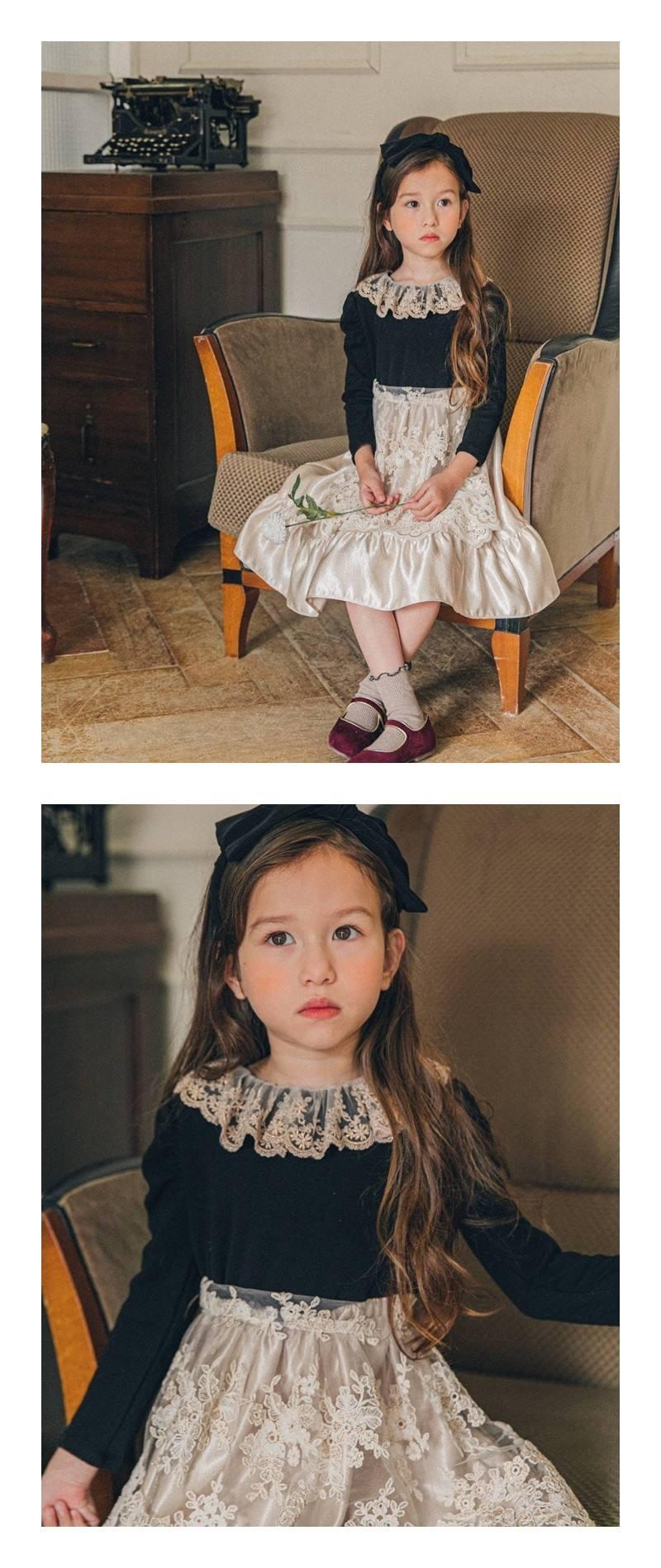 PINK BERRY - Korean Children Fashion - #Kfashion4kids - Golden Apron One-piece