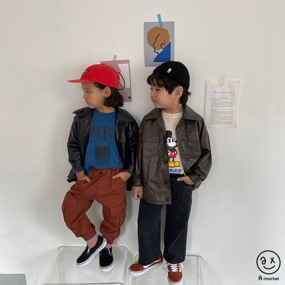 A-MARKET - Korean Children Fashion - #Kfashion4kids - Leather Jacket - 3