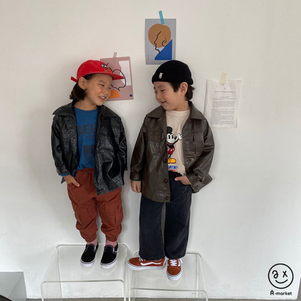 A-MARKET - Korean Children Fashion - #Kfashion4kids - Leather Jacket - 5