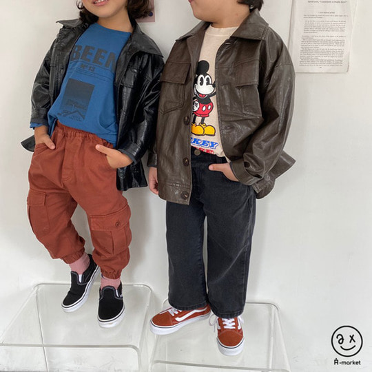 A-MARKET - BRAND - Korean Children Fashion - #Kfashion4kids - Leather Jacket