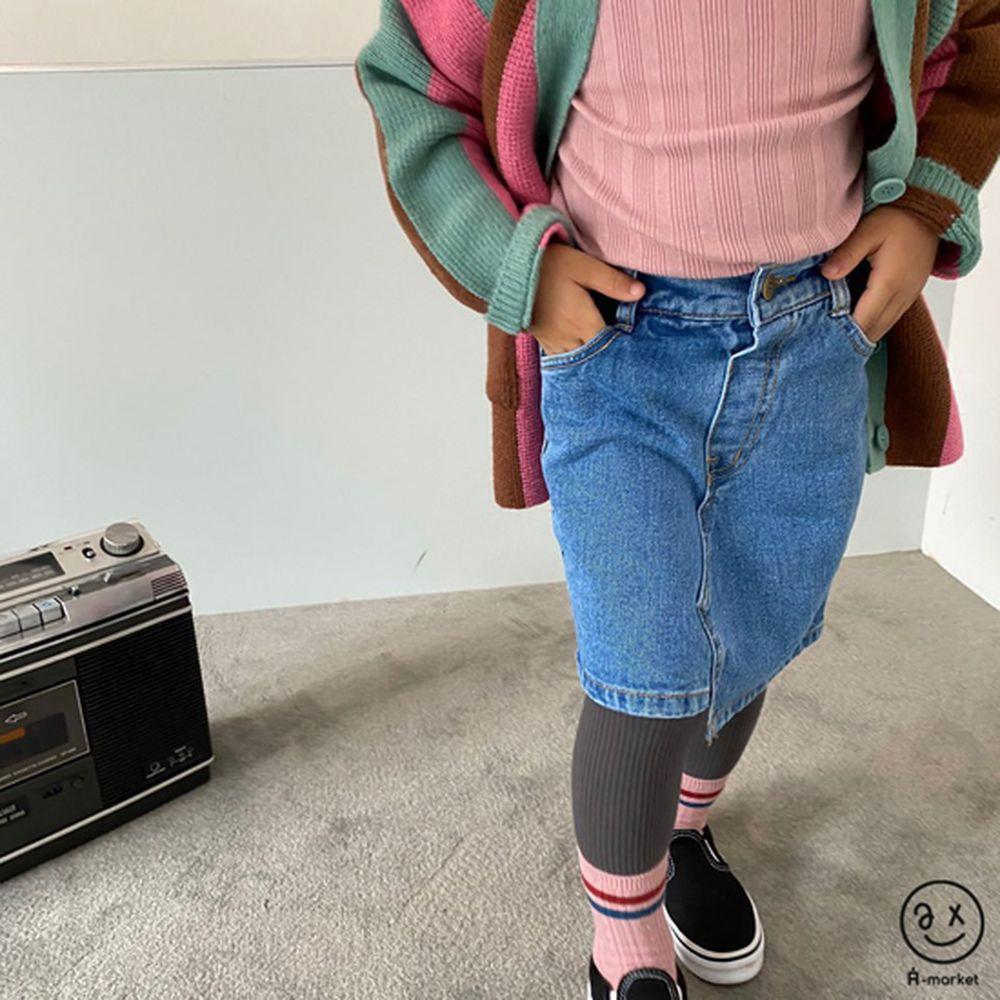 A-MARKET - Korean Children Fashion - #Kfashion4kids - Unbalance Denim Skirt - 3