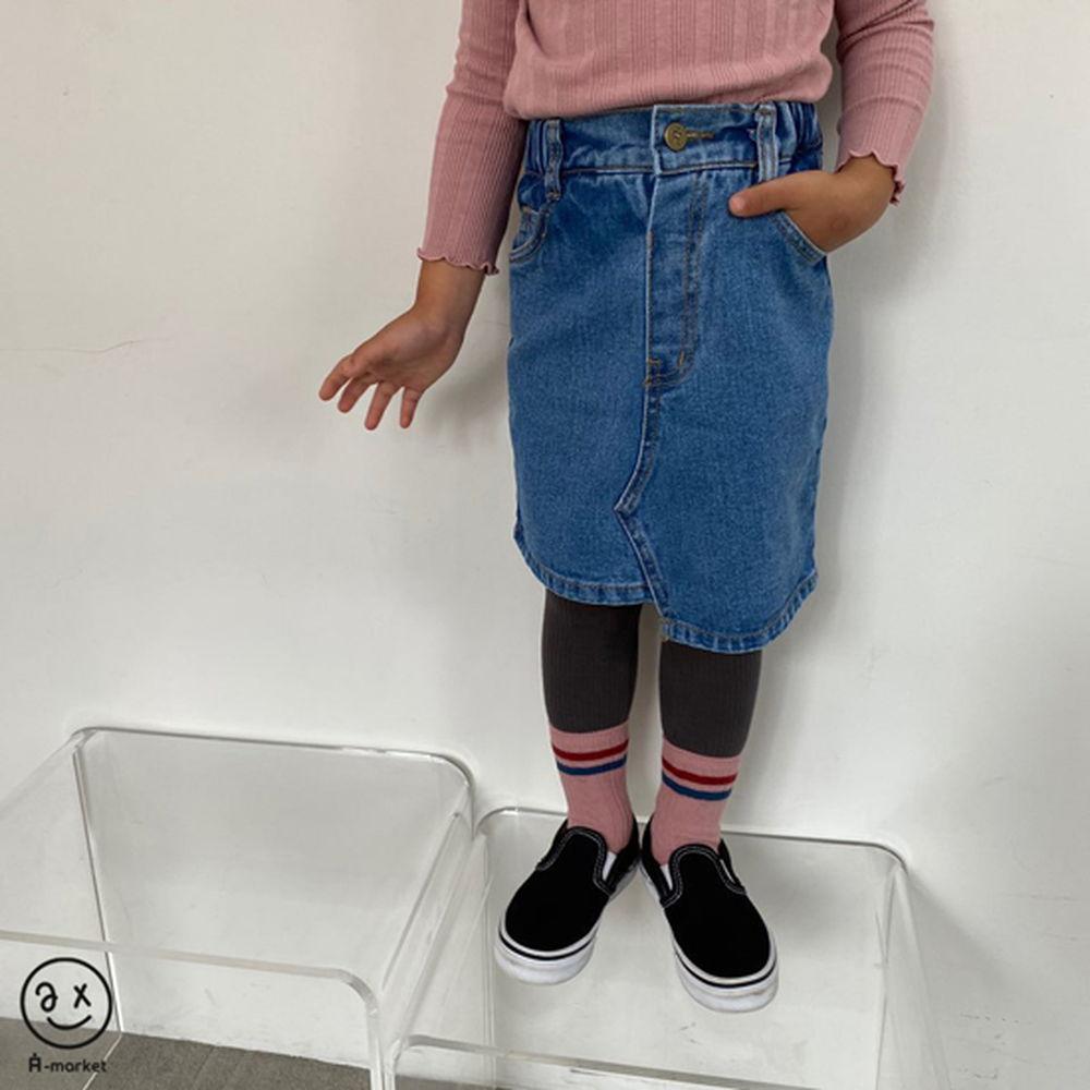 A-MARKET - Korean Children Fashion - #Kfashion4kids - Unbalance Denim Skirt - 4