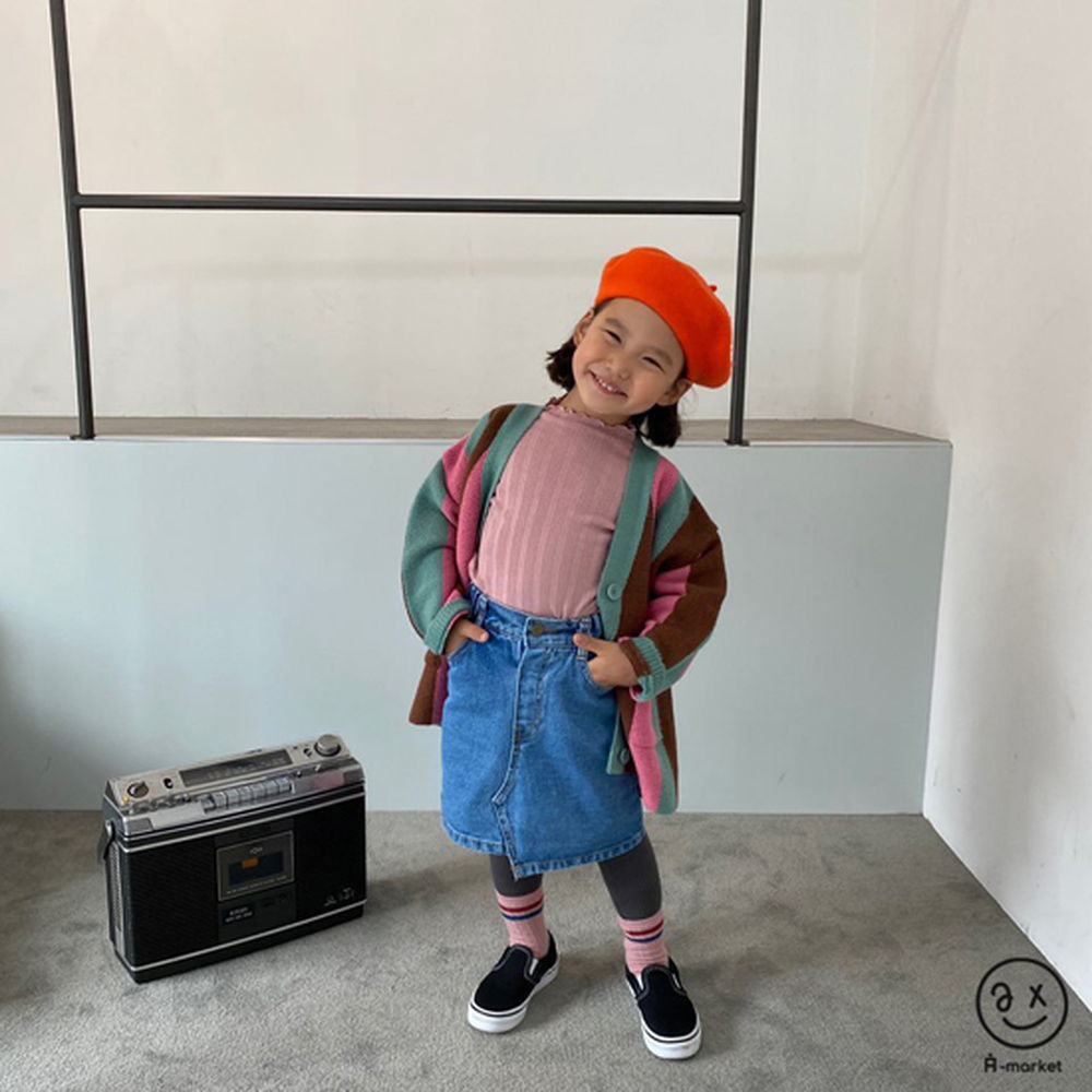 A-MARKET - Korean Children Fashion - #Kfashion4kids - Unbalance Denim Skirt - 5