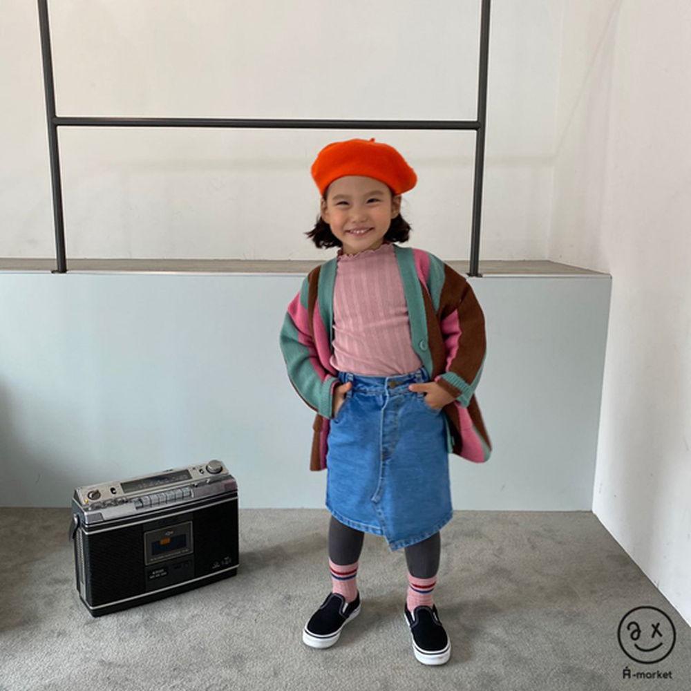 A-MARKET - Korean Children Fashion - #Kfashion4kids - Unbalance Denim Skirt - 6