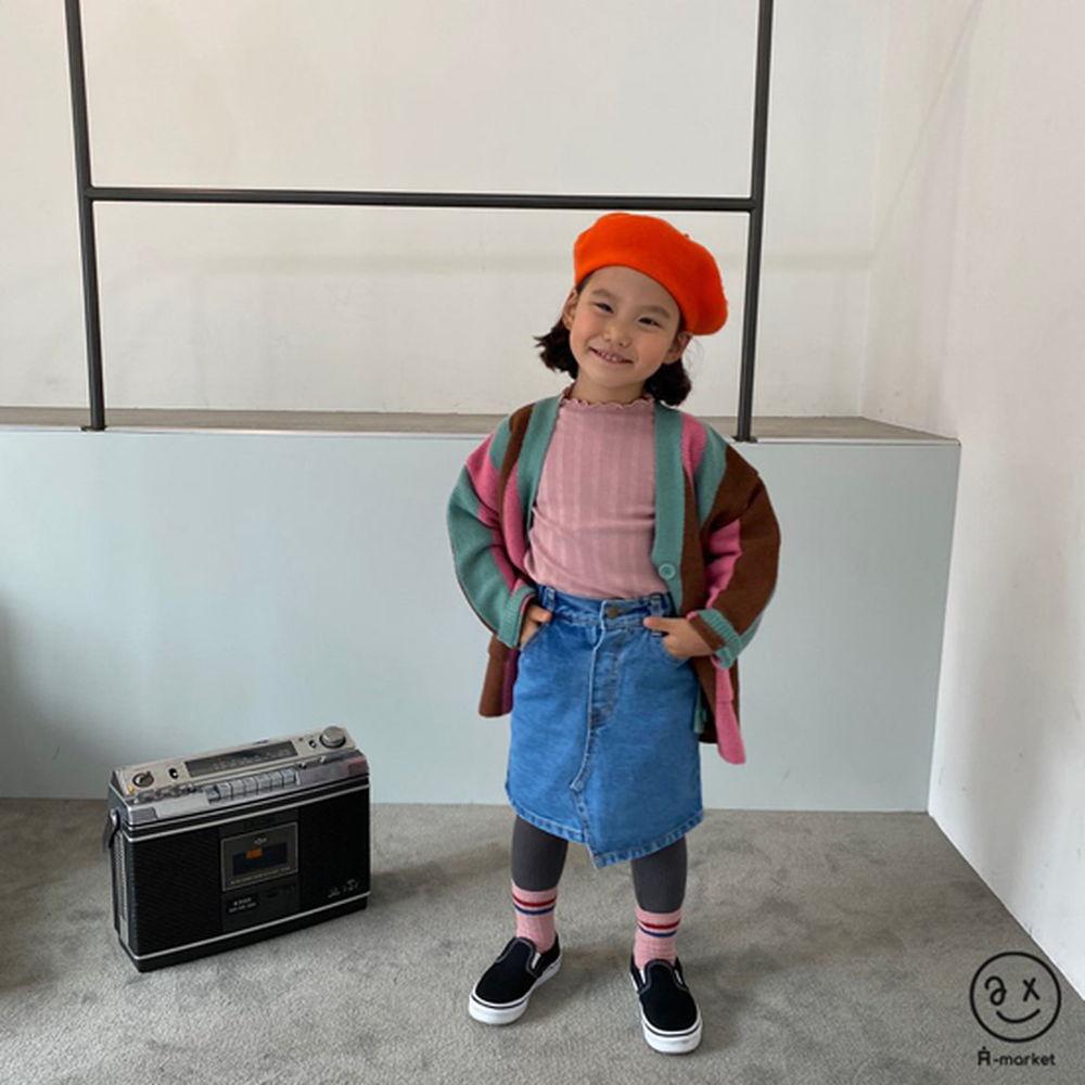 A-MARKET - Korean Children Fashion - #Kfashion4kids - Unbalance Denim Skirt - 7