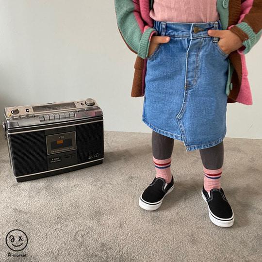 A-MARKET - BRAND - Korean Children Fashion - #Kfashion4kids - Unbalance Denim Skirt