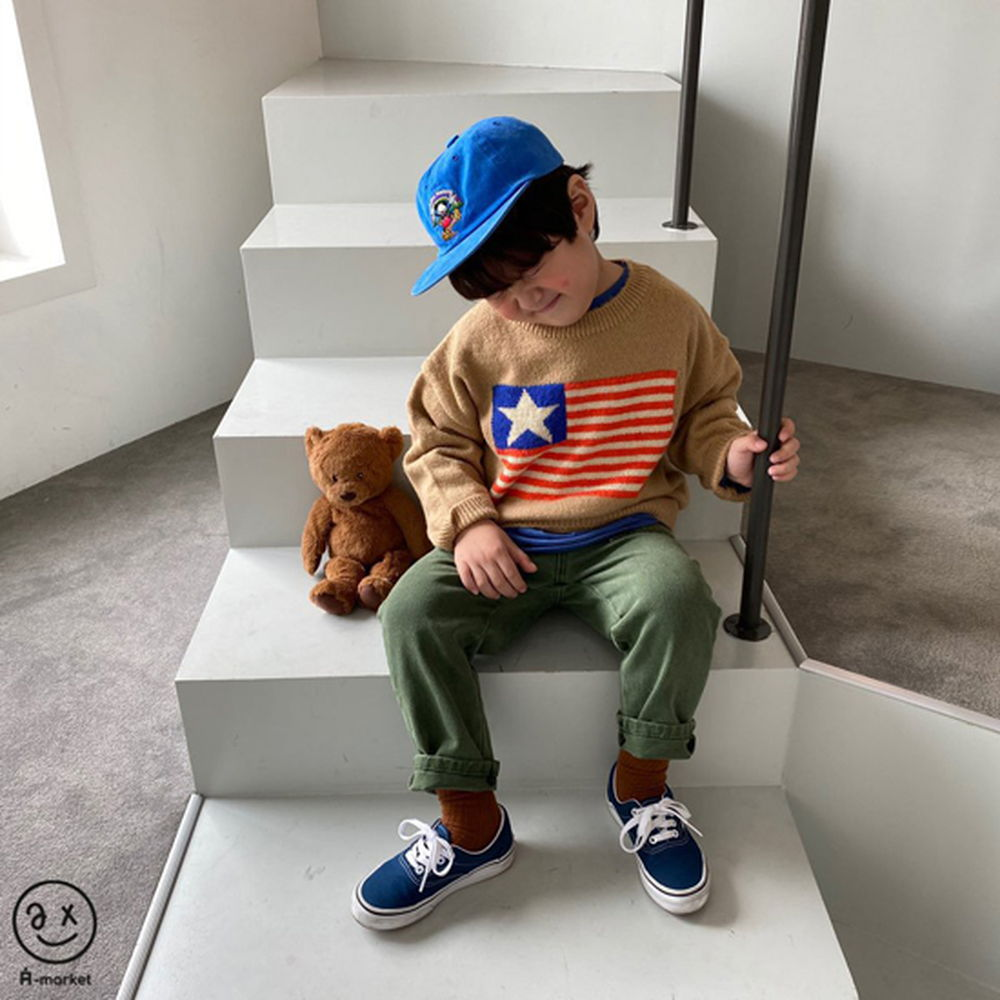 A-MARKET - Korean Children Fashion - #Kfashion4kids - USA Knit Pullover - 11