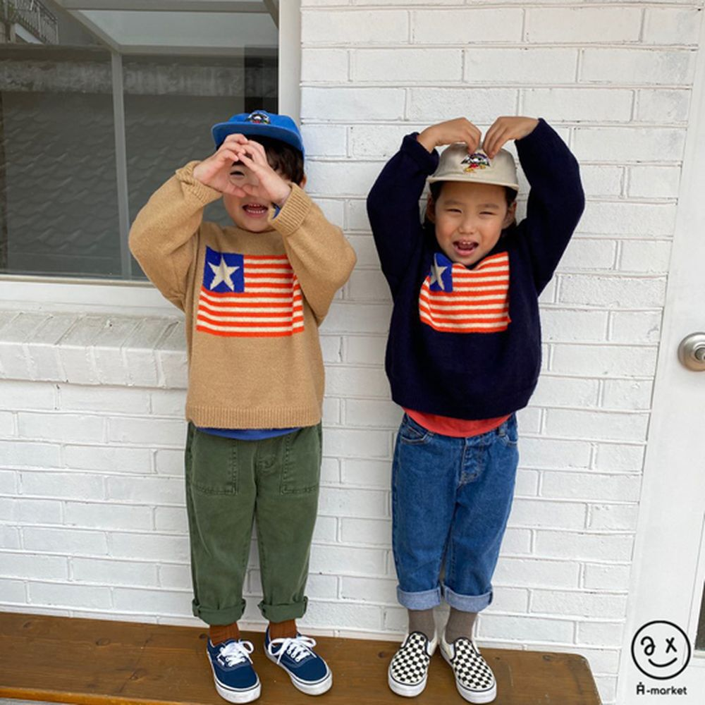 A-MARKET - Korean Children Fashion - #Kfashion4kids - USA Knit Pullover - 3