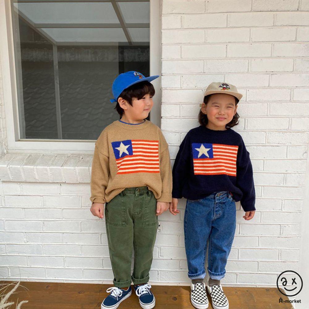 A-MARKET - Korean Children Fashion - #Kfashion4kids - USA Knit Pullover - 6