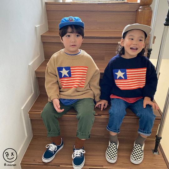 A-MARKET - BRAND - Korean Children Fashion - #Kfashion4kids - USA Knit Pullover