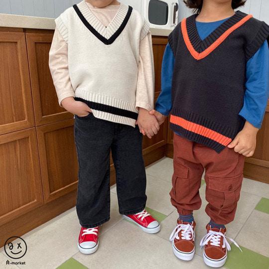 A-MARKET - BRAND - Korean Children Fashion - #Kfashion4kids - Diagonal Line Vest