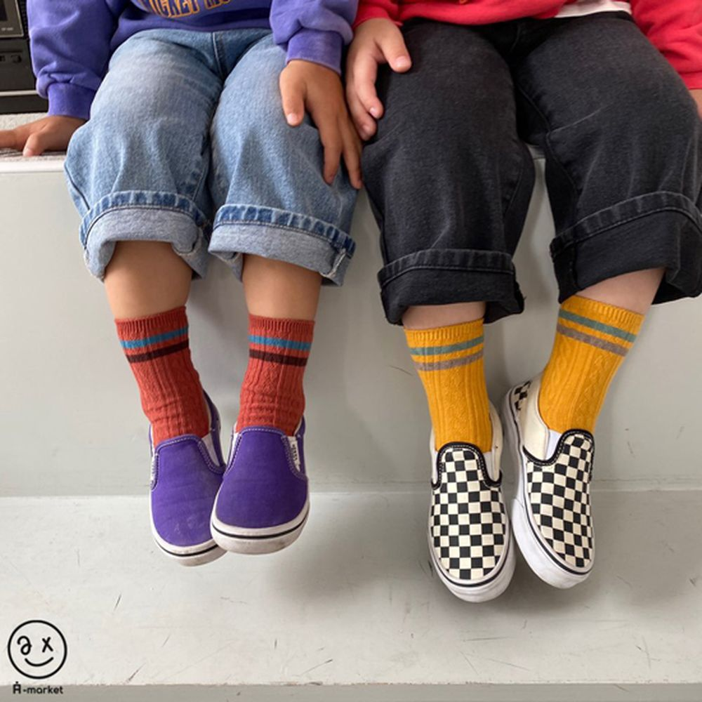 A-MARKET - Korean Children Fashion - #Kfashion4kids - Two Lines Socks [set of 4] - 3