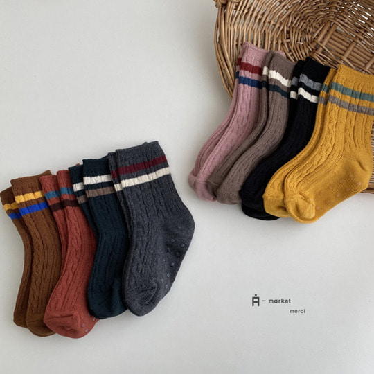 A-MARKET - BRAND - Korean Children Fashion - #Kfashion4kids - Two Lines Socks [set of 4]