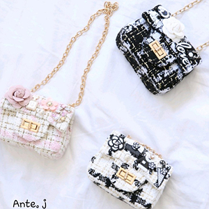 ANTE J - BRAND - Korean Children Fashion - #Kfashion4kids - Gold String Tweed Bag