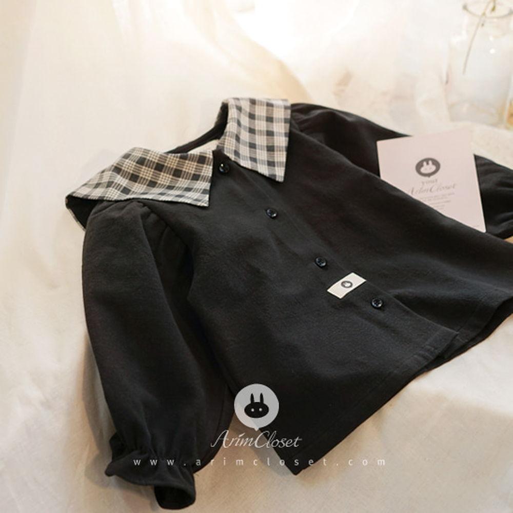 ARIM CLOSET - BRAND - Korean Children Fashion - #Kfashion4kids - Check Sailor Collar Blouse Cardigan