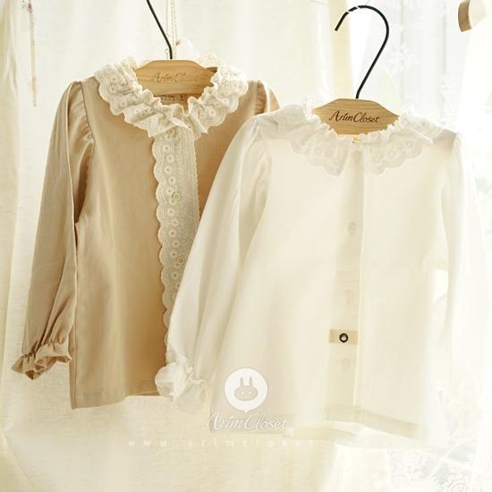 ARIM CLOSET - BRAND - Korean Children Fashion - #Kfashion4kids - Lovely Lace Cotton Blouse