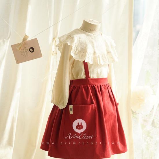 ARIM CLOSET - BRAND - Korean Children Fashion - #Kfashion4kids - Lovely Red Overall Skirt