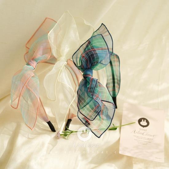 ARIM CLOSET - BRAND - Korean Children Fashion - #Kfashion4kids - Check Volume Ribbon Hairband