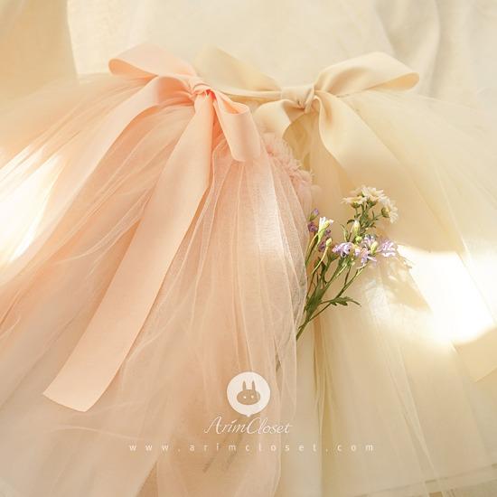 ARIM CLOSET - BRAND - Korean Children Fashion - #Kfashion4kids - Lovely Big Ribbon Long Tutu Skirt
