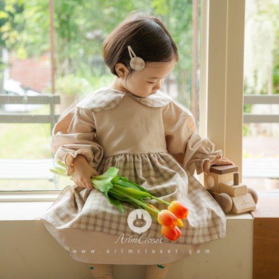 ARIM CLOSET - BRAND - Korean Children Fashion - #Kfashion4kids - Check Collar Apron Dress