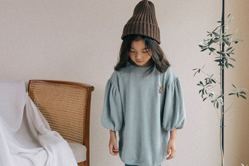 BONALOI - BRAND - Korean Children Fashion - #Kfashion4kids - Waffle Embroidery Tee