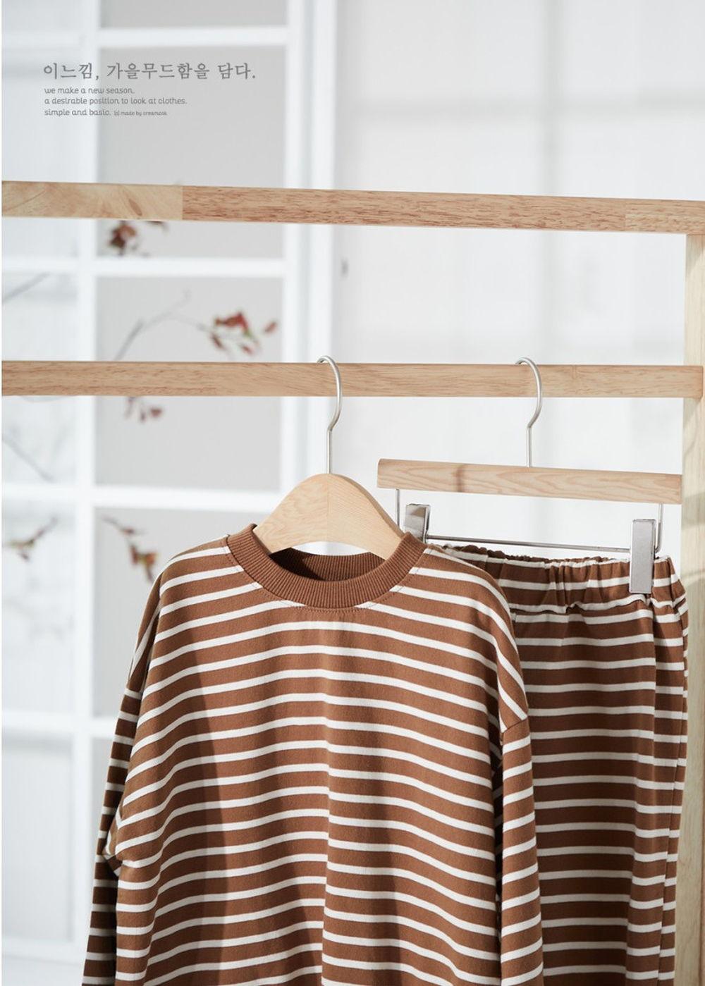 CREAMCOK - Korean Children Fashion - #Kfashion4kids - Stripe Top Bottom Set