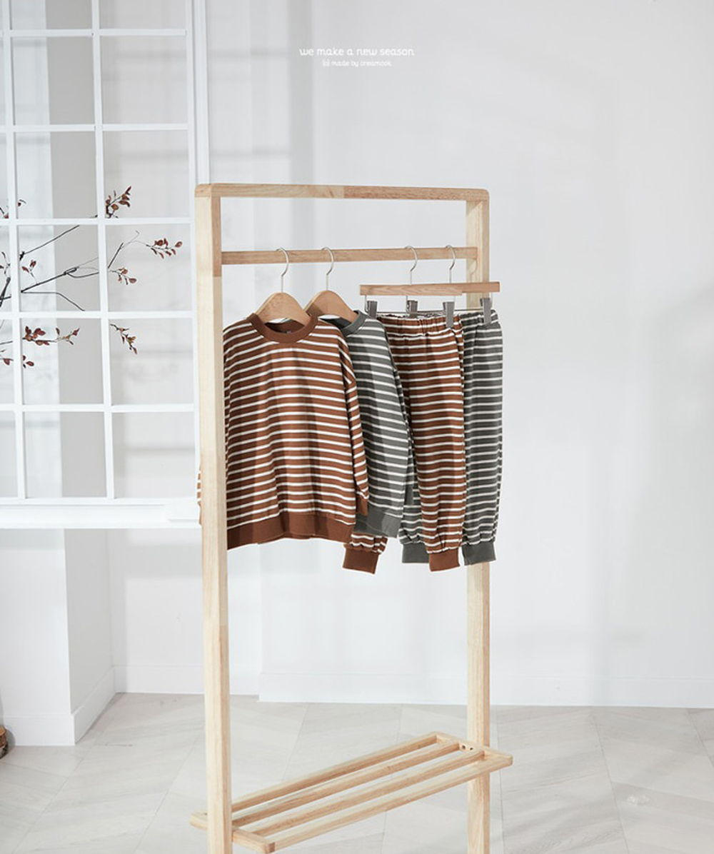 CREAMCOK - BRAND - Korean Children Fashion - #Kfashion4kids - Stripe Top Bottom Set
