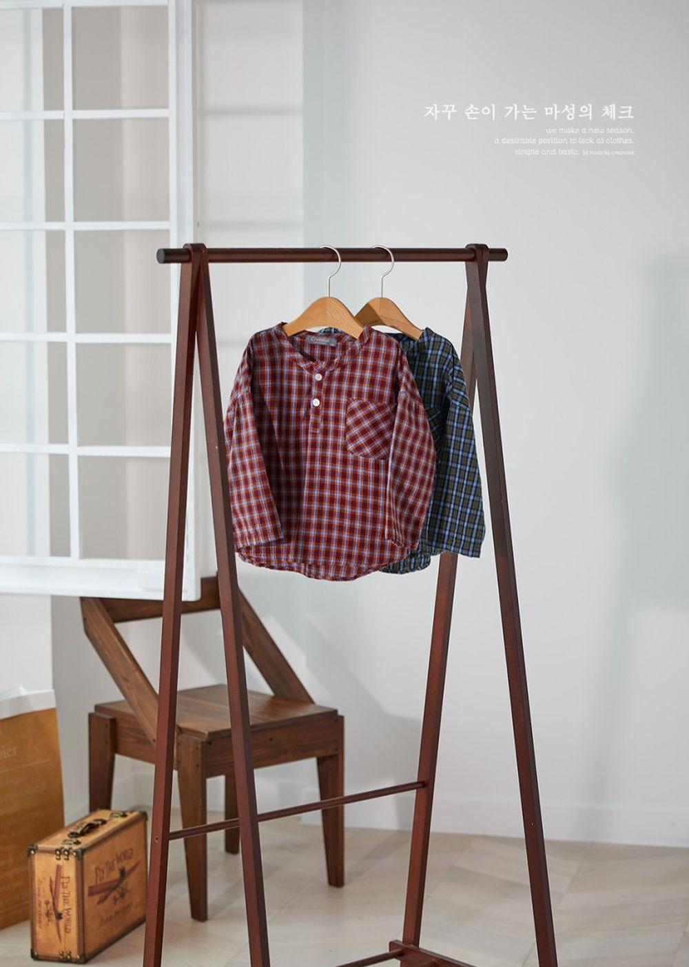 CREAMCOK - Korean Children Fashion - #Kfashion4kids - Little Check Henrly Shirt